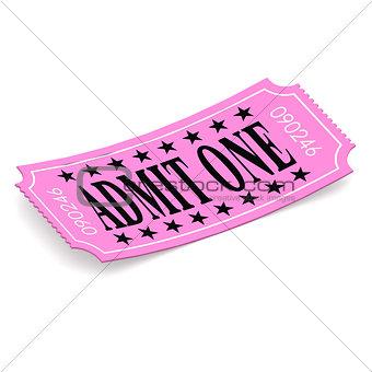 Admit one pink ticket on white background