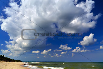 Beach, sea and clouds