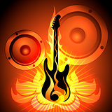 Music theme with flaming guitar