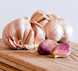 Two garlic bulbs and cloves