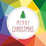 Holidays vector card with Christmas tree and hand drawn Merry Christmas