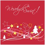 Christmas vector card with Merry Christmas wishes in polish: Wesolych swiat.