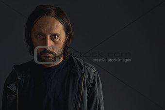 Bearded man low key portrait