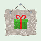 Wooden Sign with Gift