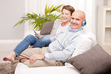 leisure time of a mature couple at home
