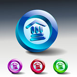 bank icon glass vector institution banking