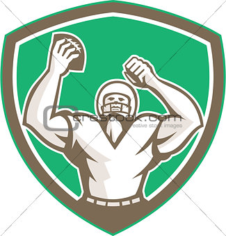 American Football Holding Ball Celebrating Shield Retro