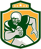 American Football QB Player Running Shield Retro
