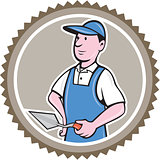 Bricklayer Mason Plasterer Rosette Cartoon
