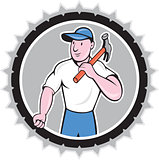 Builder Carpenter Holding Hammer Rosette Cartoon