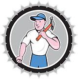 Builder Carpenter Holding Hammer Rosette Cartoon