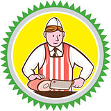 Butcher Chopping Ham Rosette Cartoon