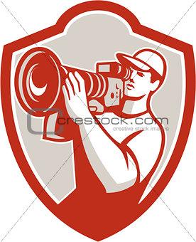 Cameraman Vintage Movie Camera Shield Retro