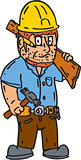 Carpenter Builder Hammer Wood Plank Cartoon