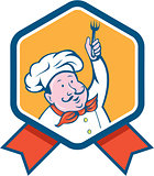 Chef Cook Holding Fork Ribbon Cartoon