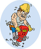 Construction Worker Jackhammer Drilling Cartoon