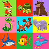 Set of animals with background
