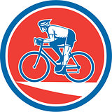 Cyclist Riding Mountain Bike Circle Retro