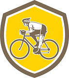 Cyclist Riding Mountain Shield Retro