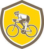 Cyclist Riding Mountain Shield Retro