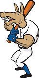 Donkey Baseball Player Batting Cartoon