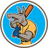 Donkey Baseball Player Batting Circle Cartoon