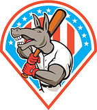 Donkey Baseball Player Batting Diamond Cartoon