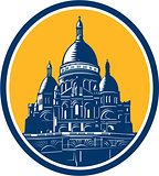 Dome of Sacre Coeur Basilica Paris Retro