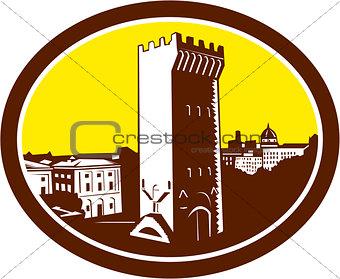 Tower of San Niccolo Florence Woodcut