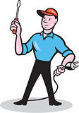Electrician Holding Screwdriver Plug Cartoon