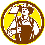Organic Farmer Holding Grab Hoe Circle Retro