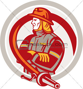 Fireman Firefighter Standing Folding Arms Circle