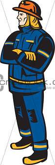 Fireman Firefighter Folding Arms Retro