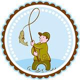Fly Fisherman Fish On Reel Rosette Cartoon