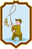 Fly Fisherman Fish On Reel Shield Cartoon