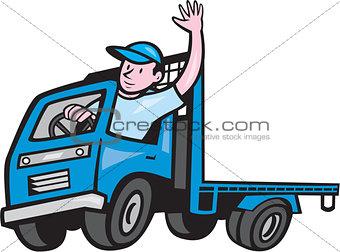 Flatbed Truck Driver Waving Cartoon