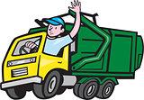 Garbage Truck Driver Waving Cartoon