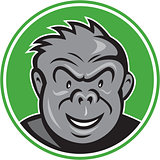 Angry Gorilla Head Circle Cartoon