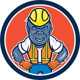 Angry Gorilla Construction Worker Circle Cartoon