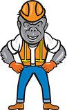 Angry Gorilla Construction Worker Cartoon