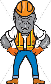 Angry Gorilla Construction Worker Cartoon