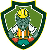 Angry Gorilla Construction Worker Shield Cartoon