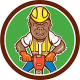 Gorilla Construction Jackhammer Circle Cartoon