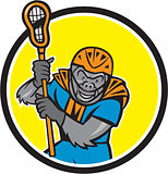Gorilla Lacrosse Player Circle Cartoon