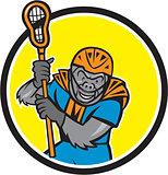 Gorilla Lacrosse Player Circle Cartoon