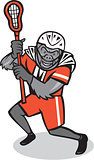 Gorilla Lacrosse Player Cartoon