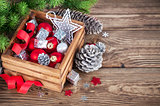 Christmas red balls in wooden box