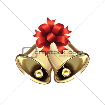 Pair of Christmas bells isolated on white background.