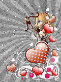 Red hearts and cupid on gray background
