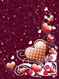 Red hearts and floral